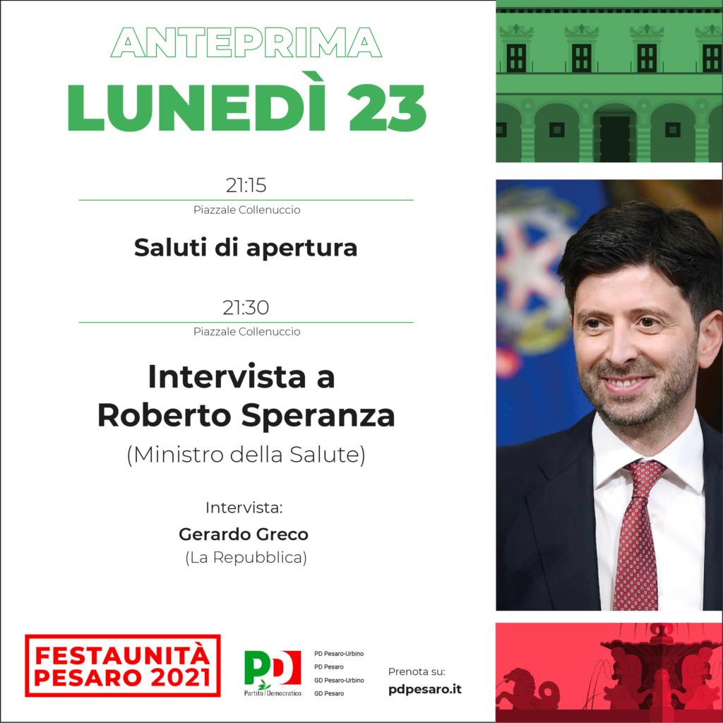 Roberto Speranza Festa Unità Pesaro 2021